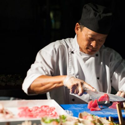 chef cutting tuna
