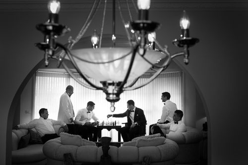 Groomsmen playing chess