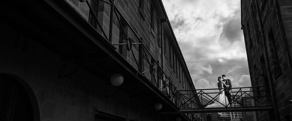 Bride & Groom on bridge