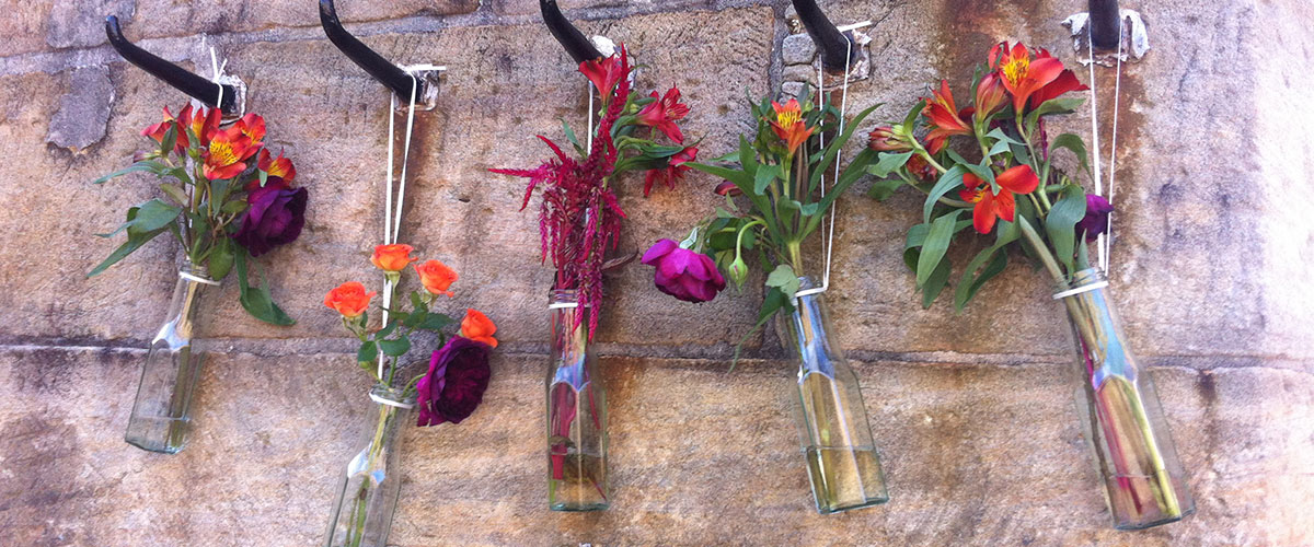 Wedding Flowers in Seperate Bottles