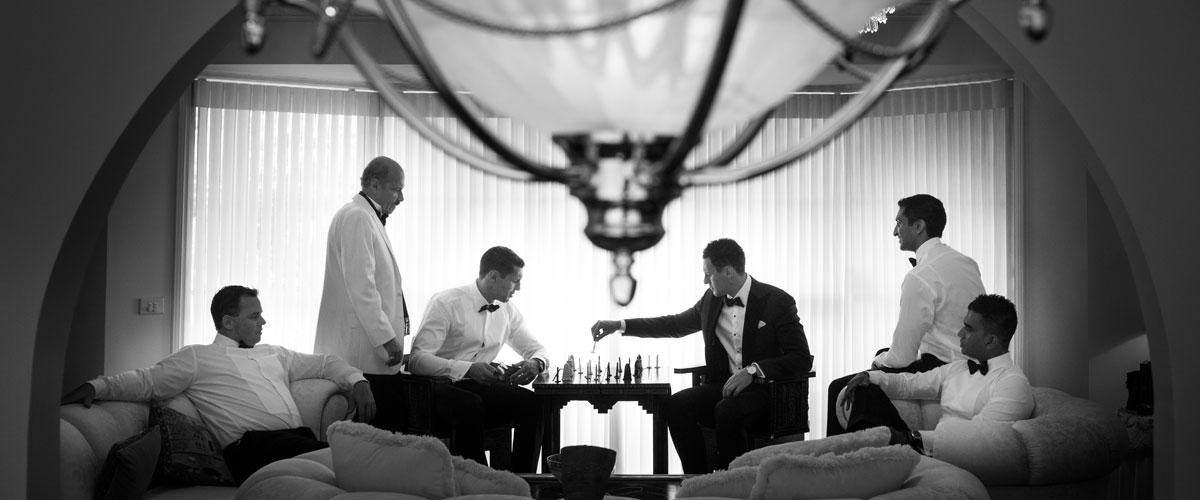 Groomsmen playing chess