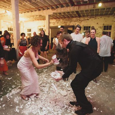 Smashed plates wedding