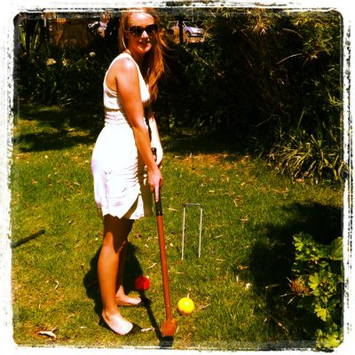 Playing croquet at a wedding