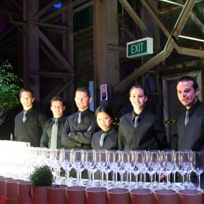 Forte staff and wine glasses