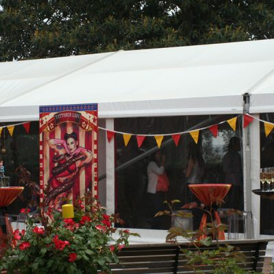 circus signs at catering event