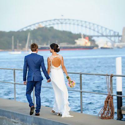 Ange & Beau Wedding Walking with Harbor Bridge