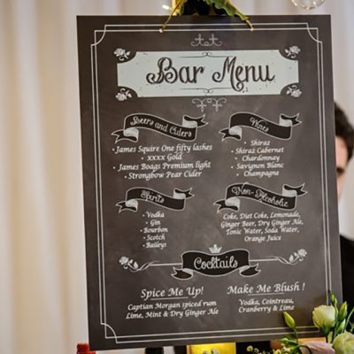 Ange & Beau Wedding Bar Menu