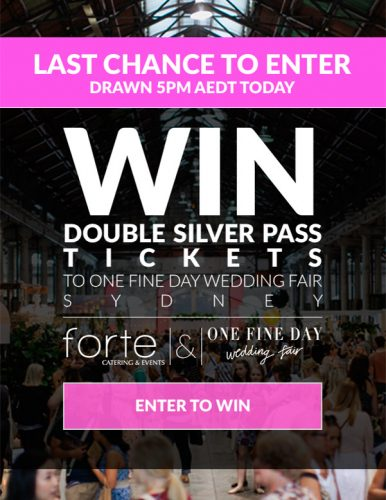 Enter your details to Win Double Silver Passes to the One Fine Day Wedding Fair
